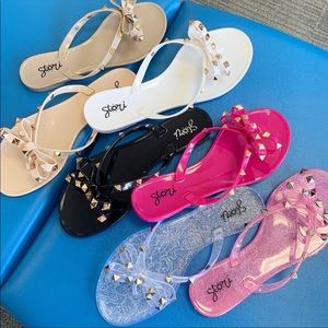 Nude and Silver Stori Studded Jelly Sandals 7M